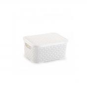 Caixa Organizadora Plástica Rattan Nitron Tampa Cesto Branco PP