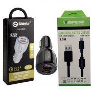 Kit Carregador Veicular Turbo 2 Entradas Cabo USB V8 1,5m