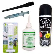 Kit Limpeza Note Telas Pc Pincel Esd Cleaner Ar Pasta Prata