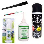 Kit Limpeza Pc Note Telas Pincel Esd Cleaner Ar Pasta Prata