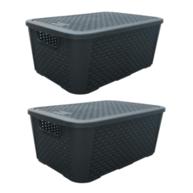 2 Caixas Organizadoras Plástica Plasnew Rattan Nº 2 8,8L 32x23x15cm - 2051