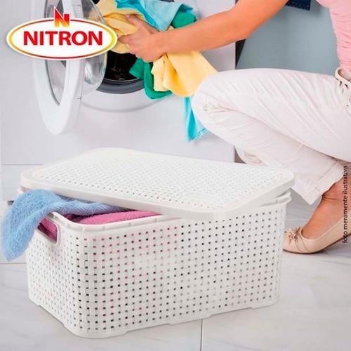2 Caixas Organizadoras Plástica Rattan Nitron Tampa Cesto PP