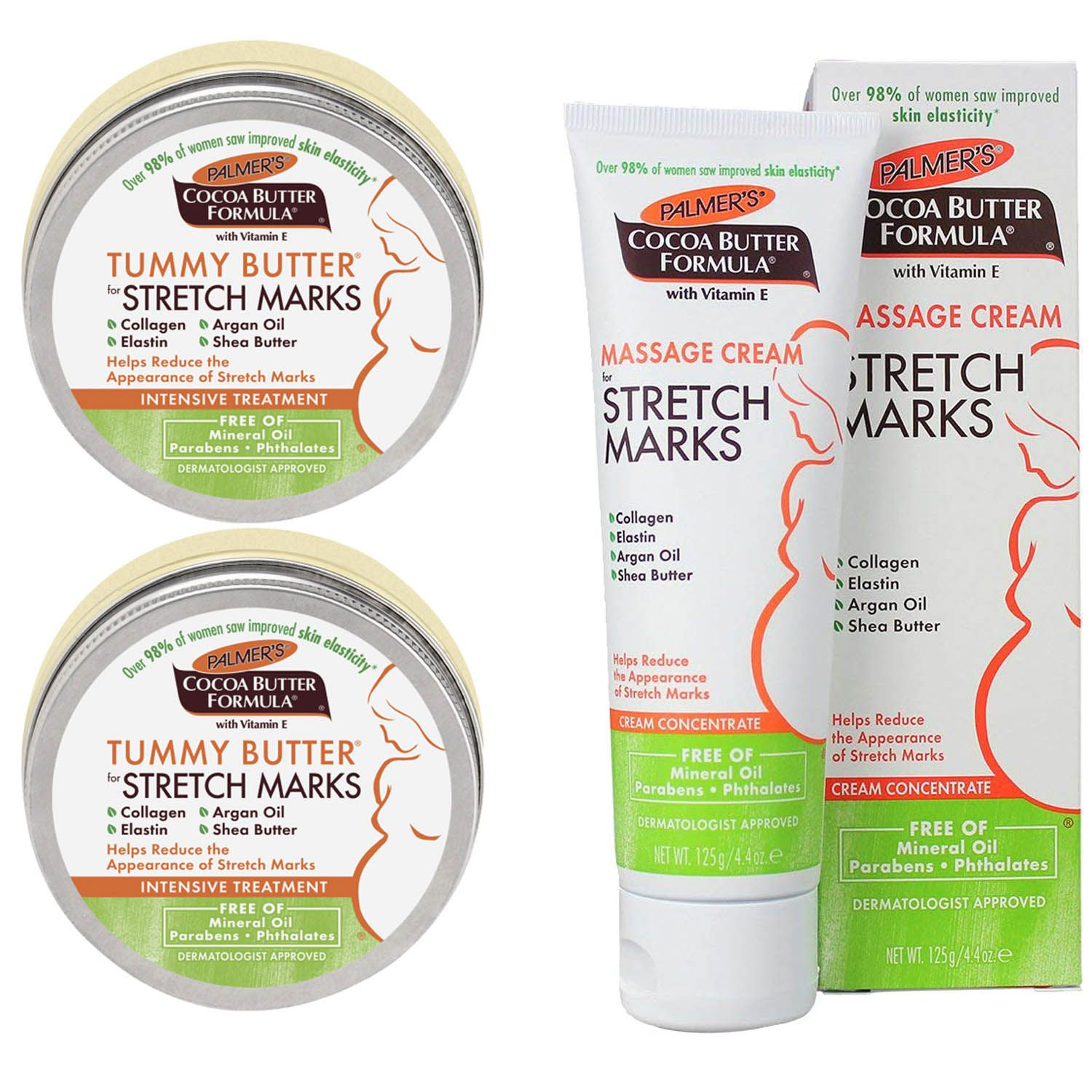 2 Creme Palmers Cocoa Tummy Butter Stretch + 1 Cocoa Butter