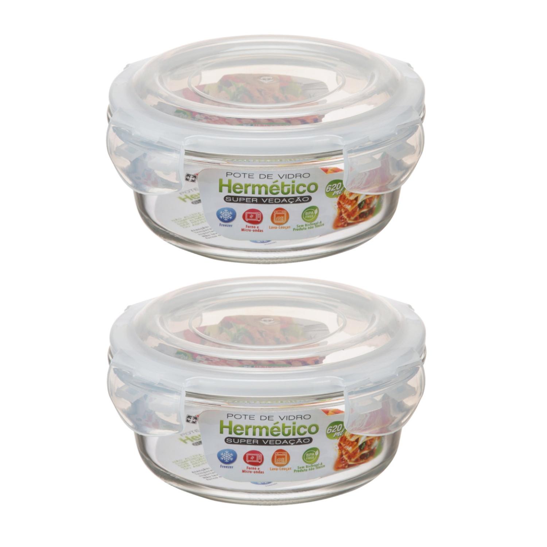 2 Potes Herméticos Vidro Redondo 620ml Microondas