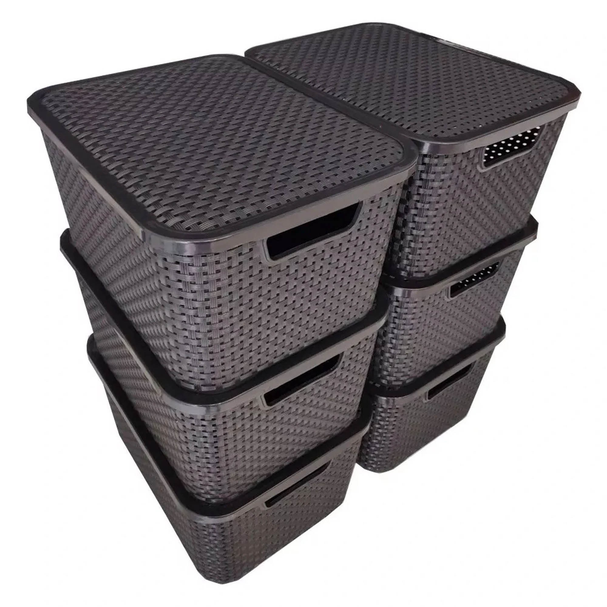2 x Caixa Organizadora Plástica Cesto Rattan 15 L Com Tampa