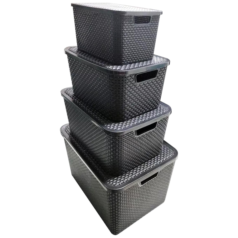 3 Caixas Organizadoras Plástica Cesto Rattan 40 Litros Com Tampa