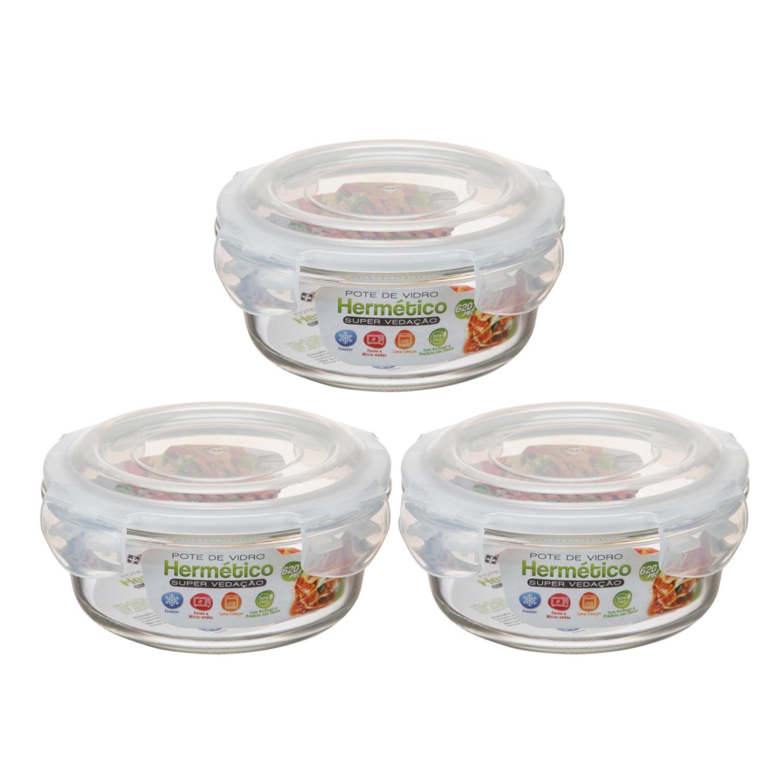 3 Potes Herméticos Vidro Redondo 620ml Microondas