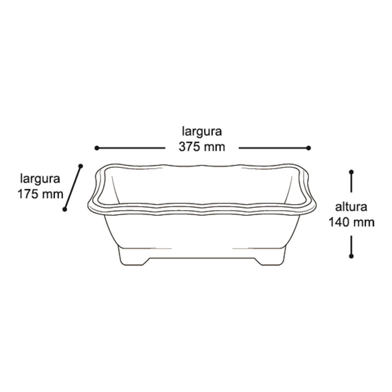3X Vaso Jardineira Plástico 37cm - 25299