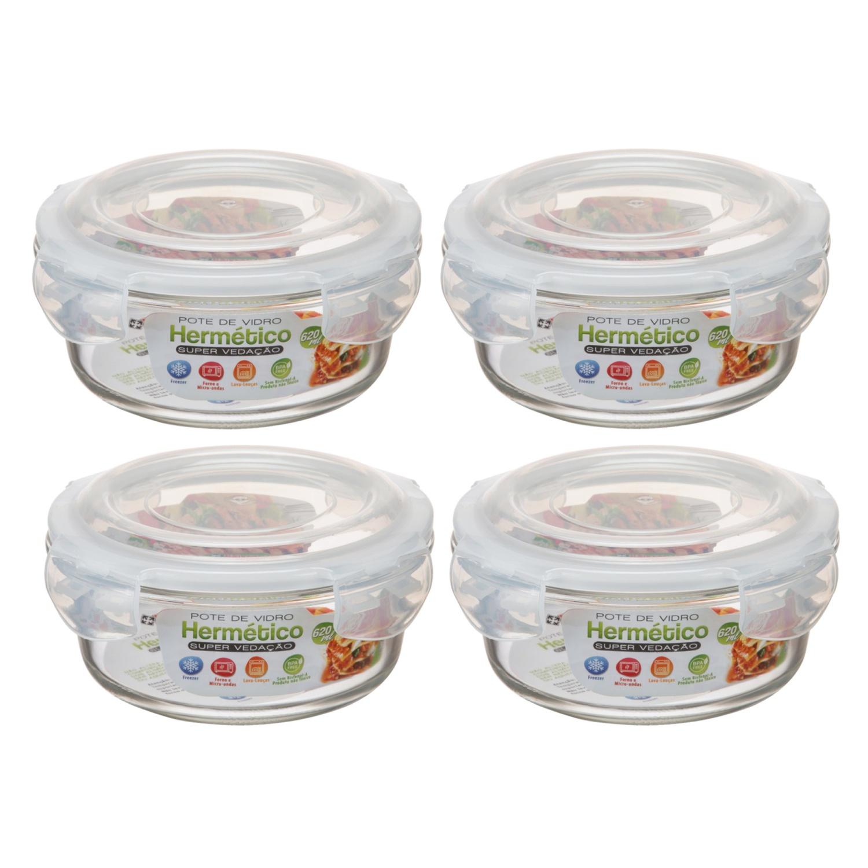 4 Potes Herméticos Redondo 620ml Microondas