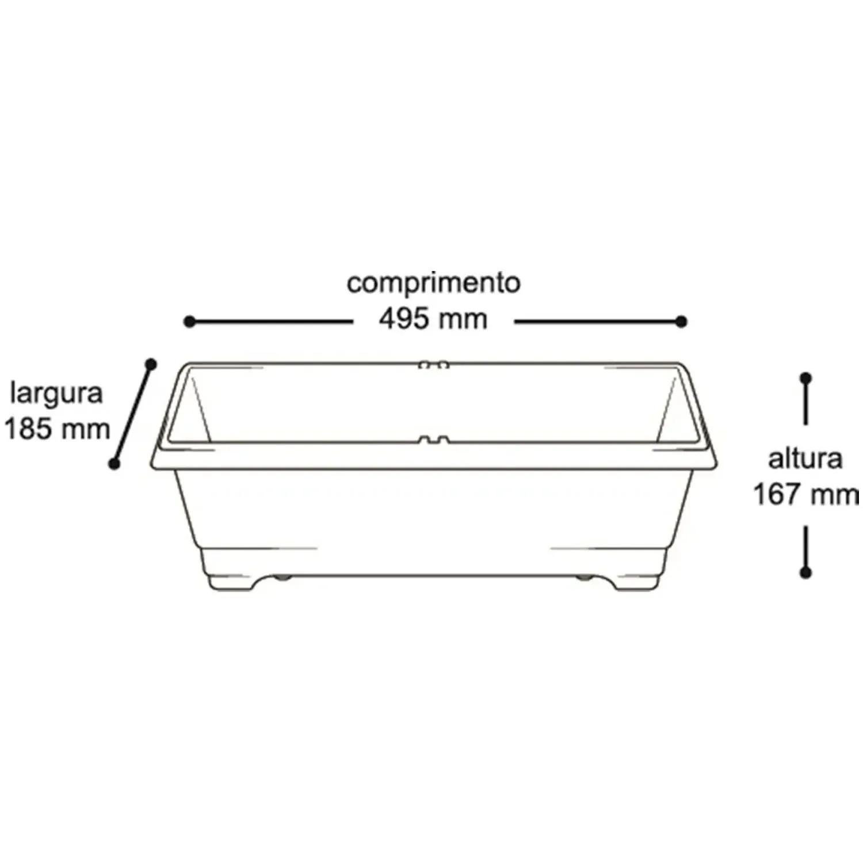50 X Vaso Jardineira Plástico Horta Preta Retangular - 25297