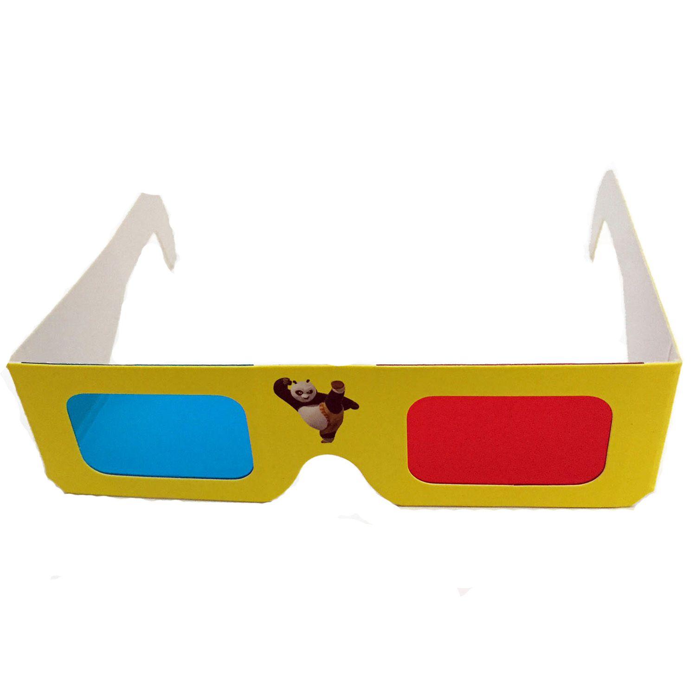 5 Óculos 3d Infantil Adulto Papelao Azul Vermelho