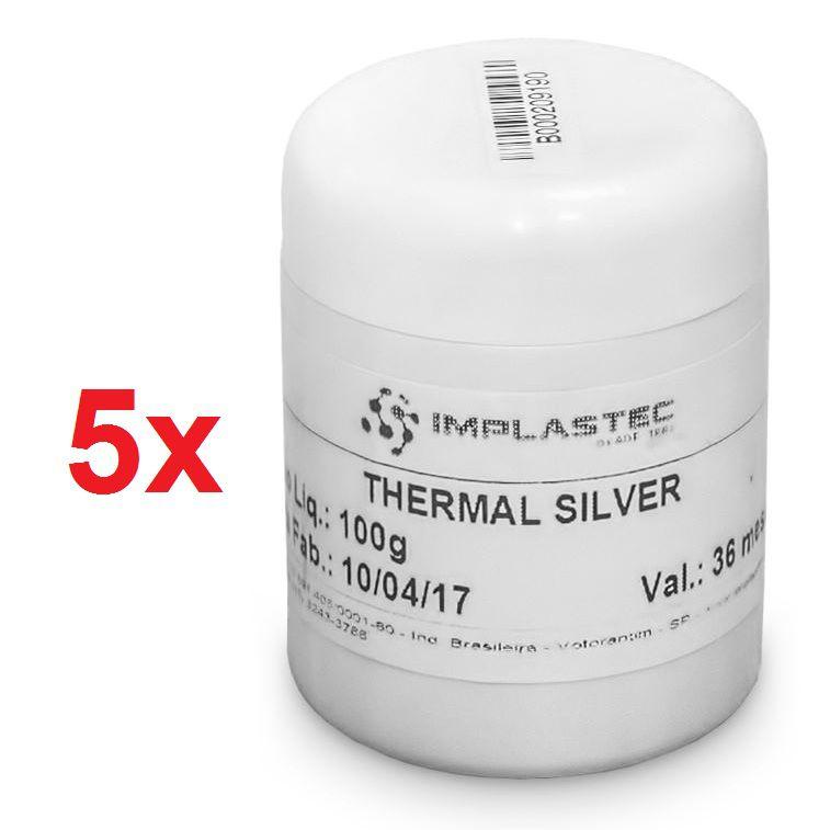 5 x Pasta Térmica Prata Cinza Thermal Silver Processador 100g