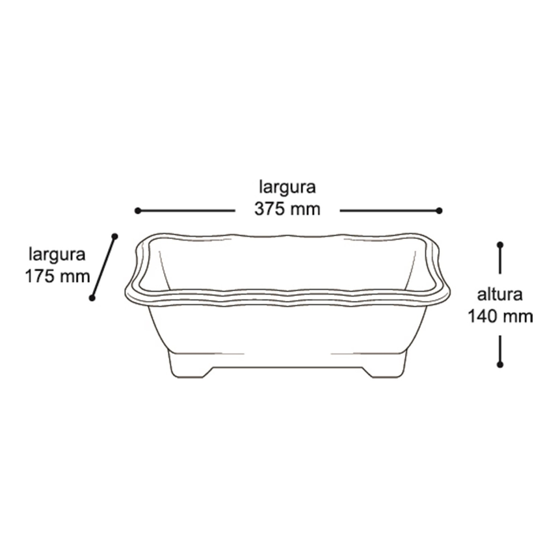 5X Vaso Jardineira Plástico 37cm - 25299