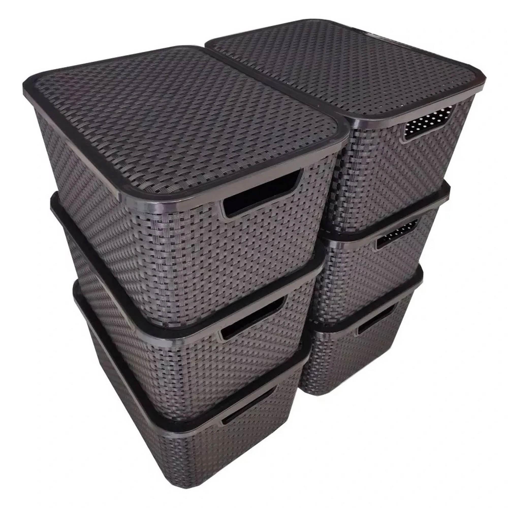 6 x Caixa Organizadora Plástica Cesto Rattan 15 L Com Tampa