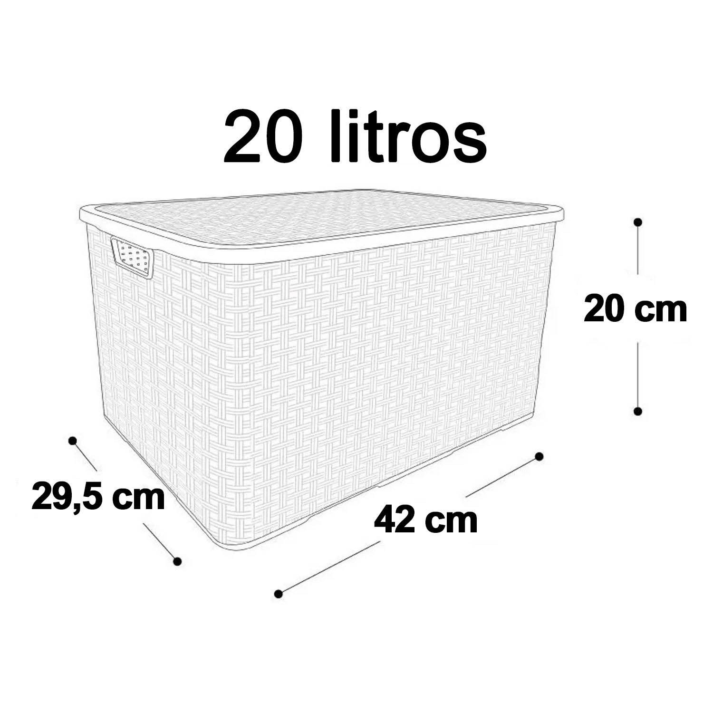 6 x Caixa Organizadora Plástica Cesto Rattan 20 L Com Tampa