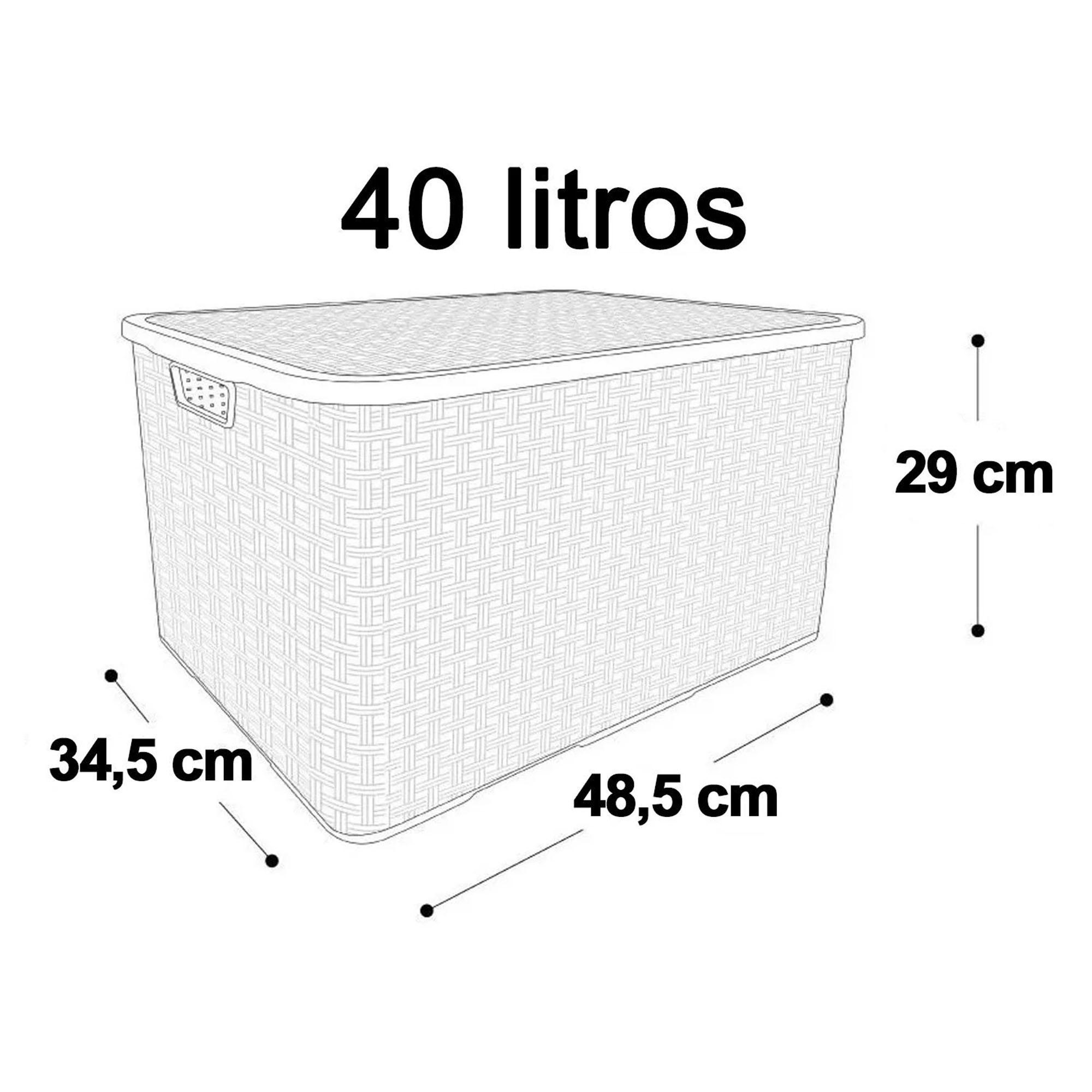 6 x Caixa Organizadora Plástica Cesto Rattan 40 L Com Tampa