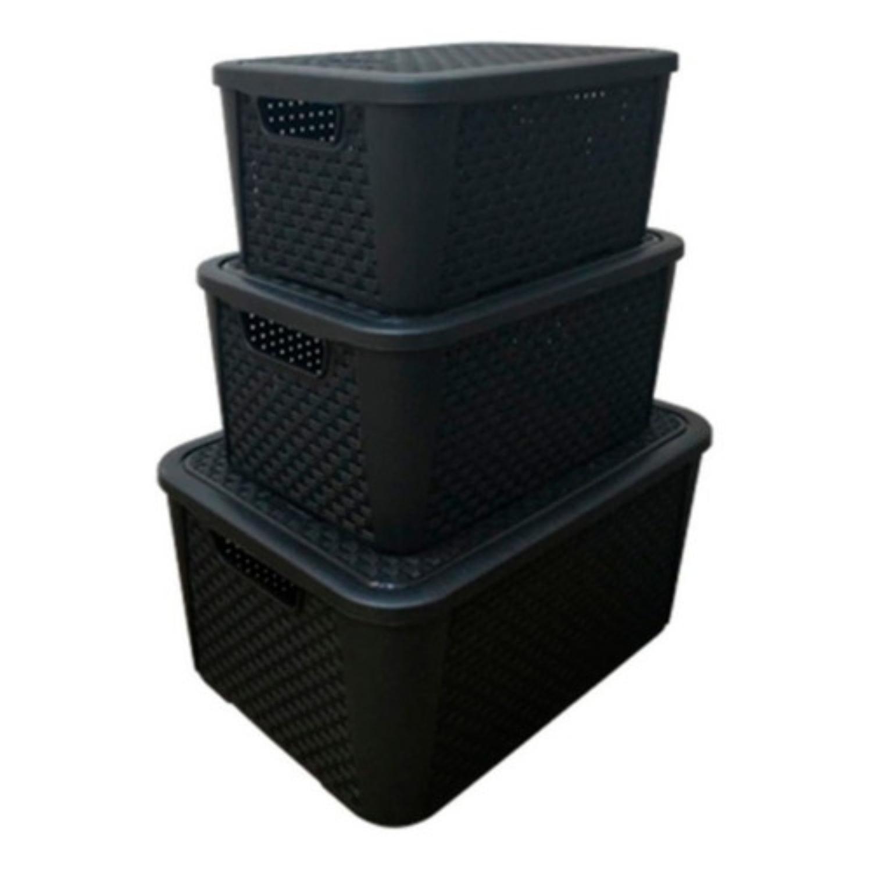 8 Caixas Organizadoras Plástica Plasnew Rattan Nº 3 17L 38x28x19cm - 2061