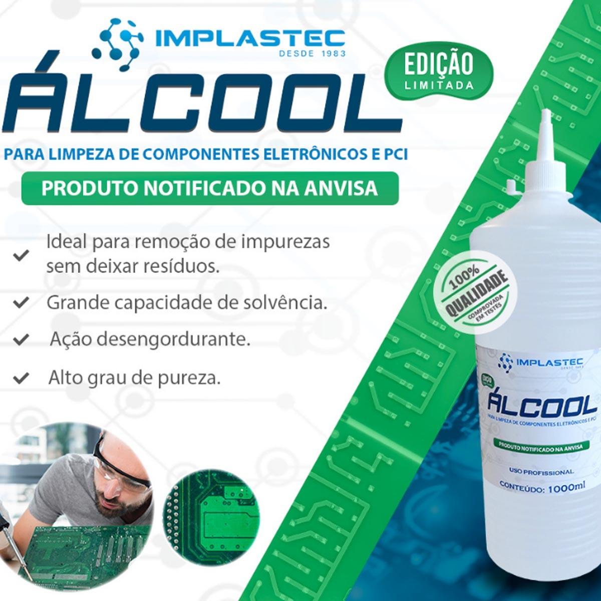 Álcool Implastec Para Limpeza de Componentes Eletrônicos e PCI 1 Litro
