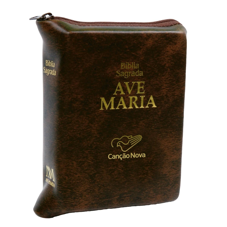 Biblia Sagrada Catolica Ave Maria Media com Ziper