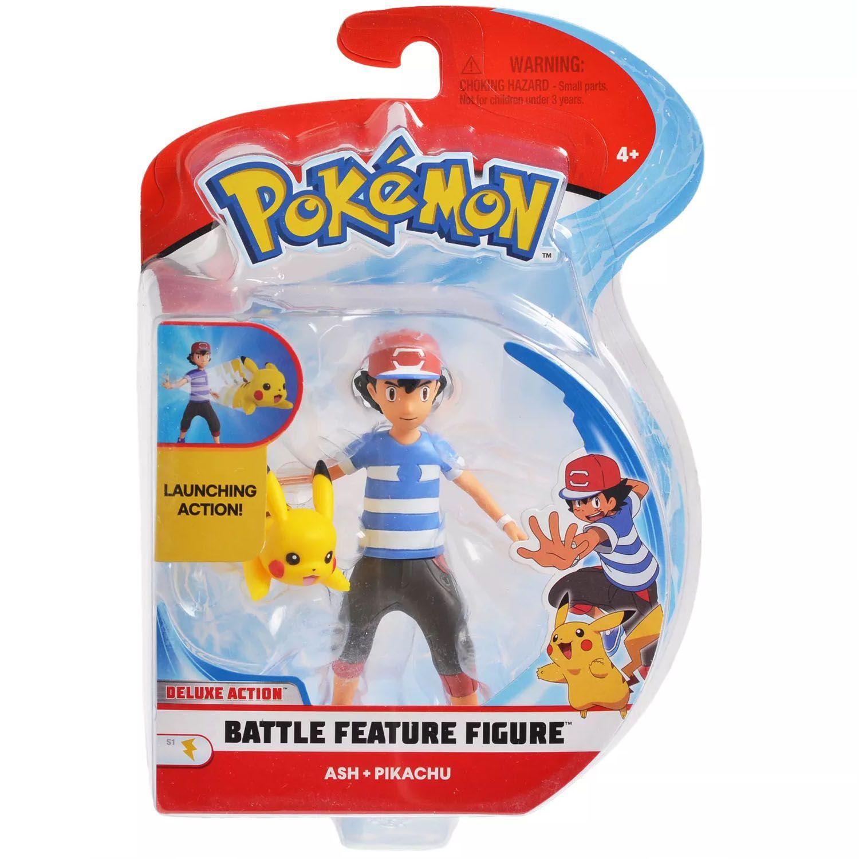 Boneco Pokemon Battle Feature Figure Ash Pikachu Wct Action