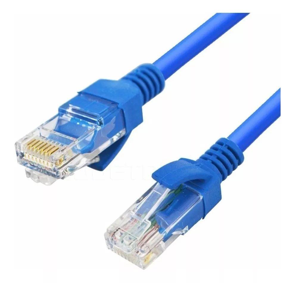 Cabo de Rede Azul Cat 5e Internet 5 Metros Crimpado RJ45