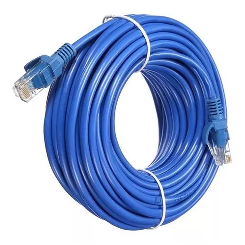 Cabo de Rede Crimpado Internet 20 Metros Conector RJ45 Azul