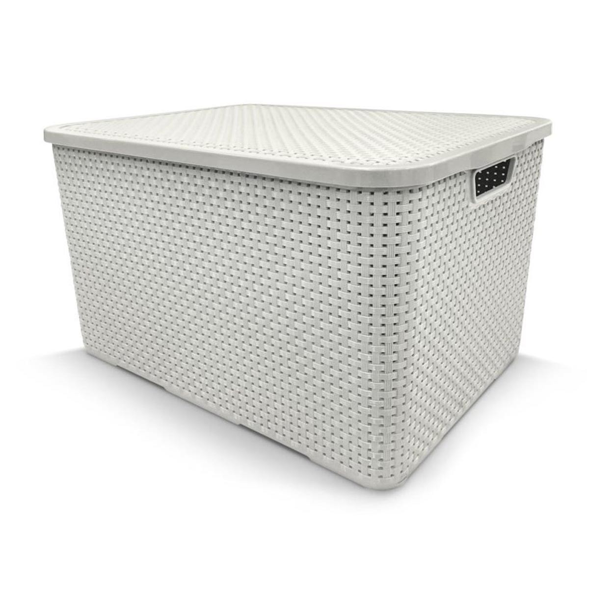 Caixa Organizadora Plástica Branca Cesto Rattan 7 Litros Com Tampa