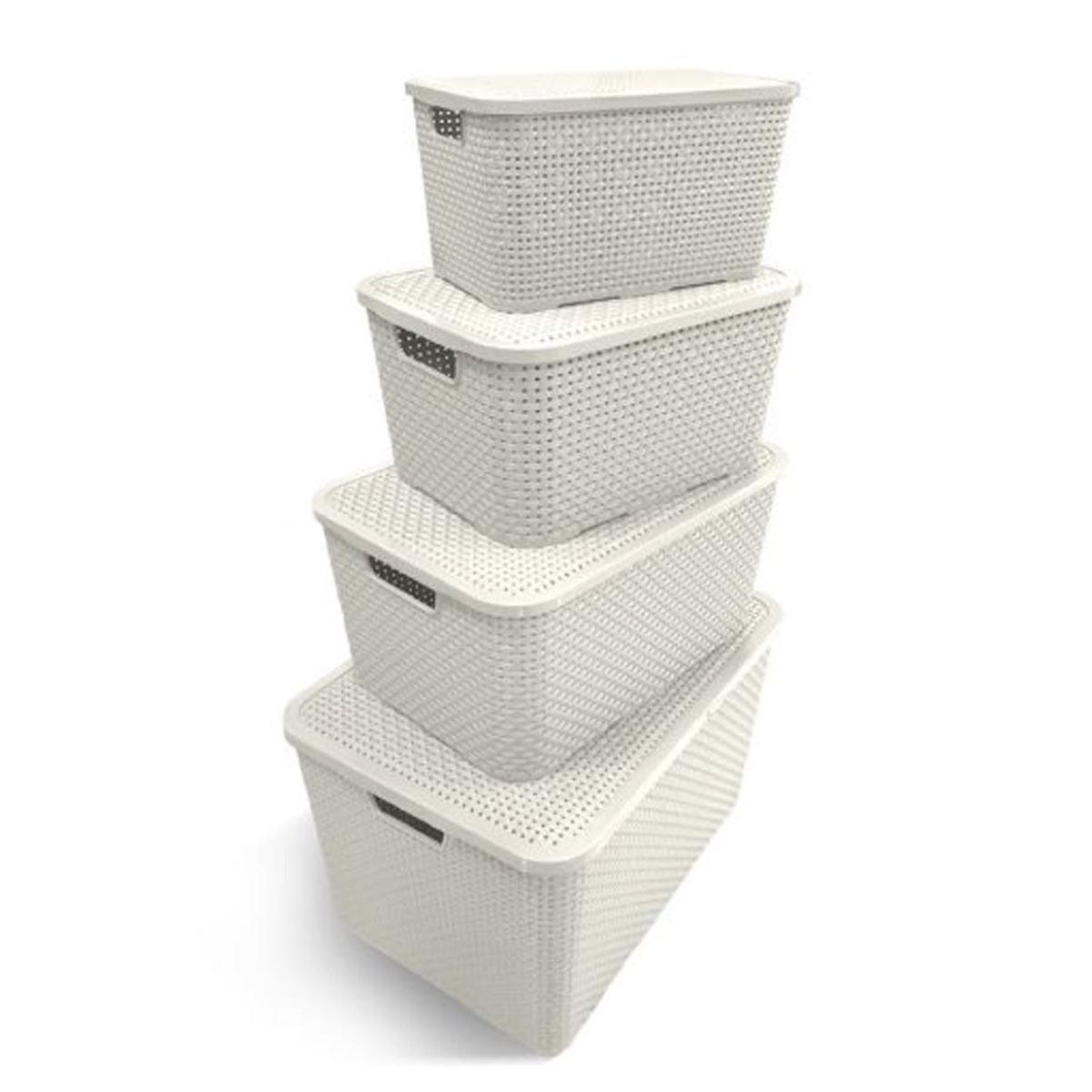 Caixa Organizadora Plástica Cesto Rattan 40 Litros Branca Com Tampa