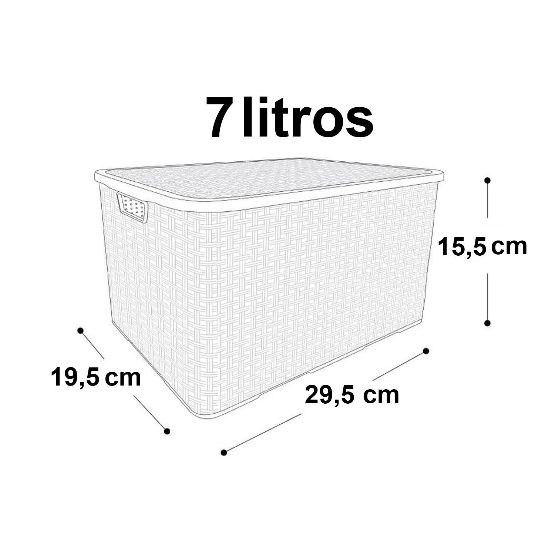 Caixa Organizadora Plástica Cesto Rattan 7 Litros Marrom Com Tampa