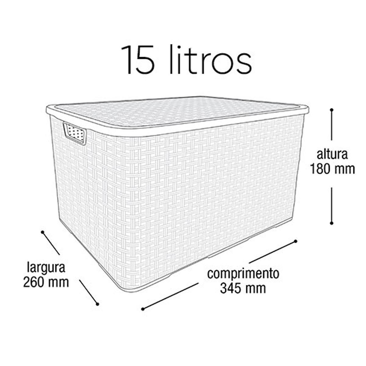 Caixa Organizadora Plástica Marrom Cesto Rattan 15 Litros Com Tampa