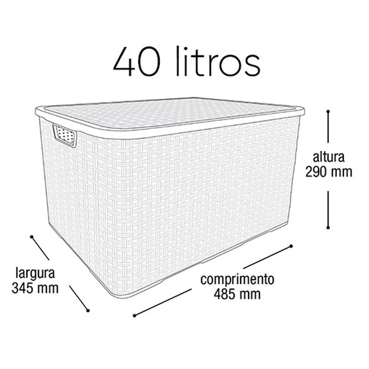 Caixa Organizadora Plástica Marrom Cesto Rattan 40 Litros Com Tampa