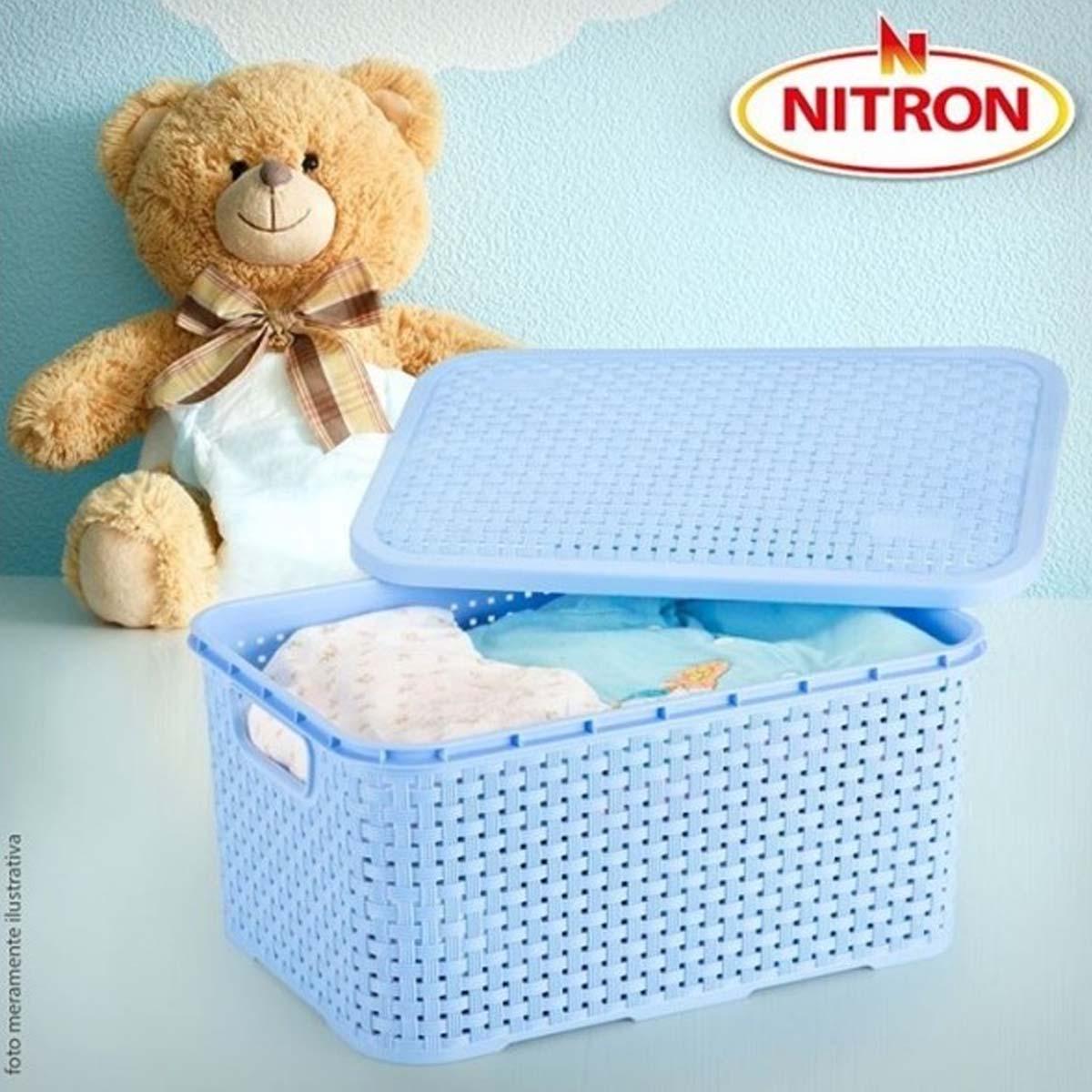 Caixa Organizadora Plástica Rattan Nitron Tampa Cesto Branco P