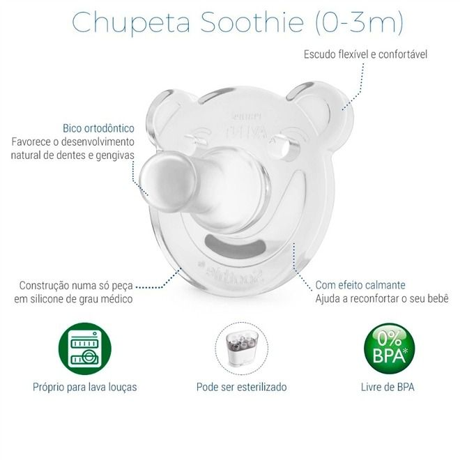 Chupeta Philips Avent Calmante Urso Soothie 2un 0-3m