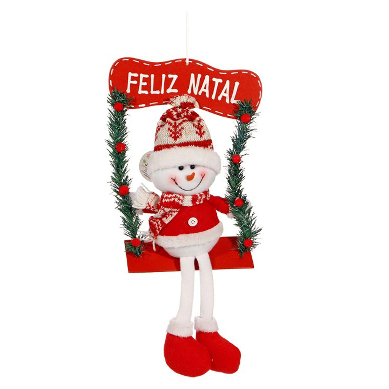 Enfeite Natalino Boneco De Neve Noel Sentado Balanço Natal