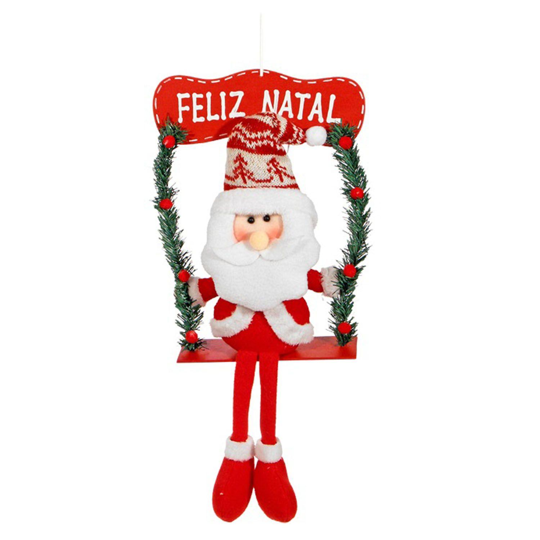 Enfeite Natalino Boneco De Papai Noel Sentado Balanço Natal
