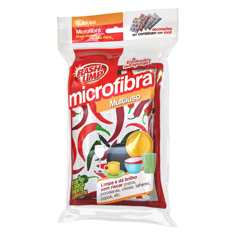 Esponja de Microfibra Multiuso Limpa E Da Brilho - 3 Unidades Pimenta