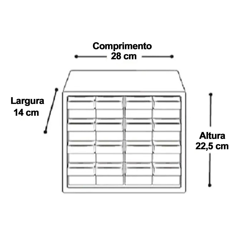 Gaveteiro Organizador Multiuso Plástico 16 Gavetas Caixa 7000