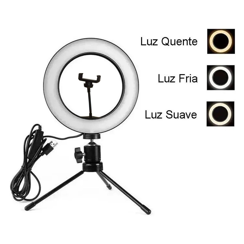 Iluminador LED Ring Light Tripé Maquiagem Luz Contínua