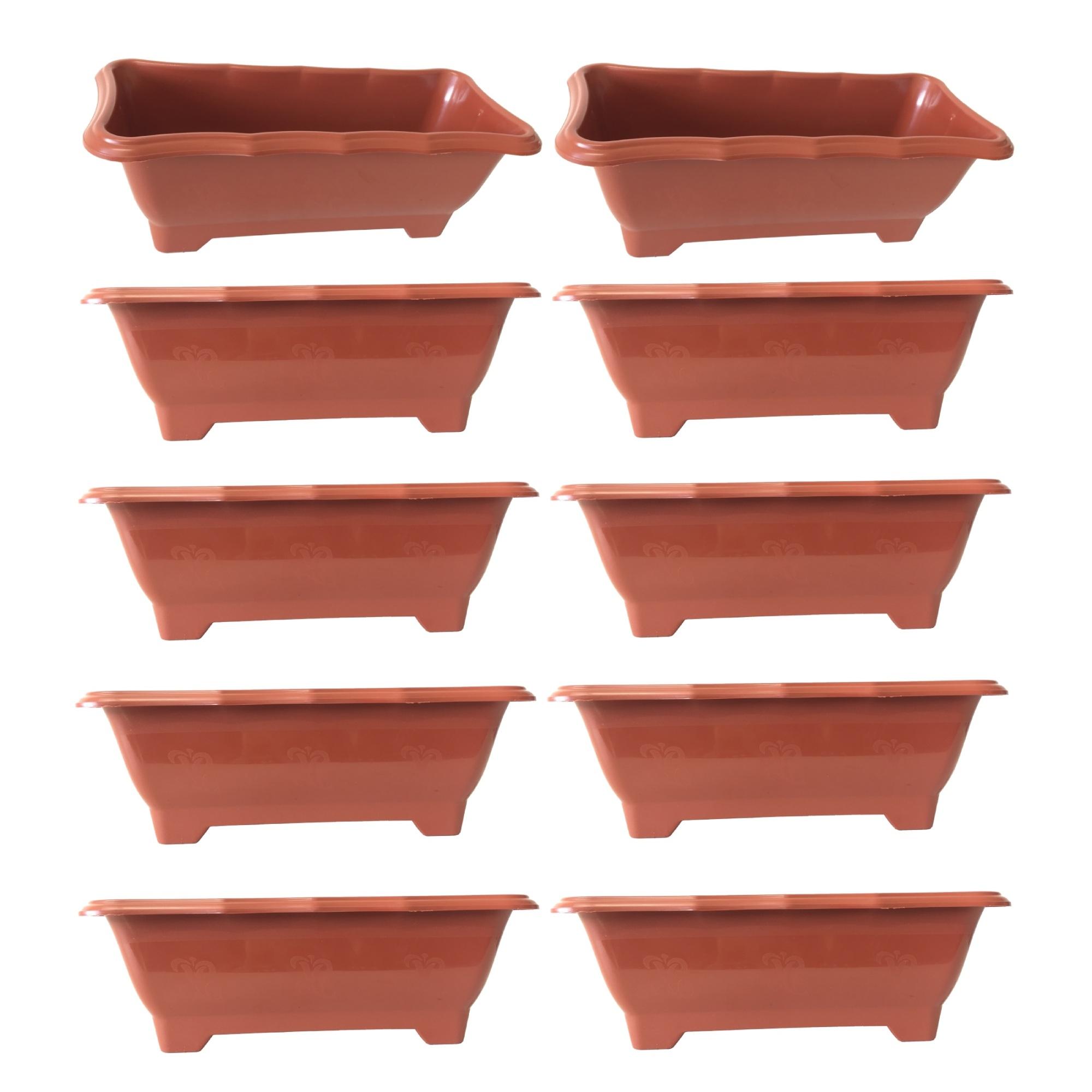 Kit 10 Vaso Jardineira Floreira  Terracota Arqplast Média 37,5x17,5x14cm - 25300