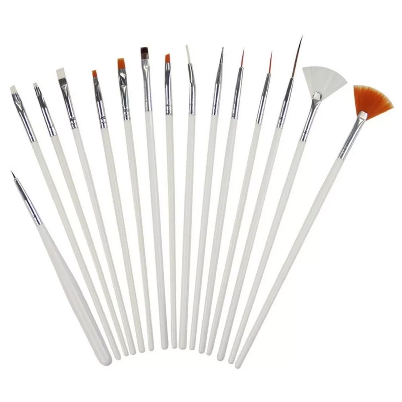 Kit Pincel Para Unha Artística Manicure Acrigel Nail Art 15 Pincéis