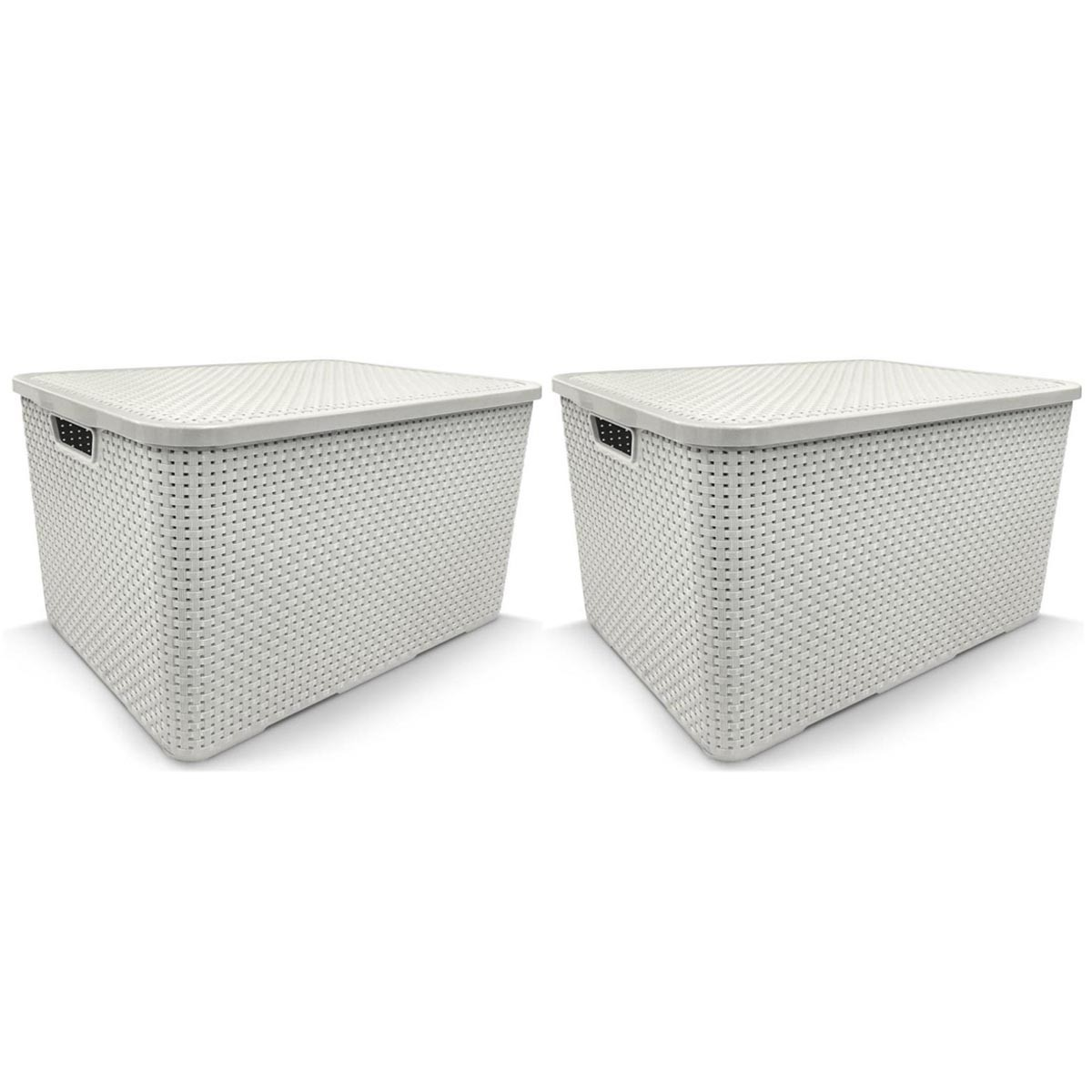 KIT 2 Caixa Organizadora Plástica Branca Cesto Rattan 15 Litros