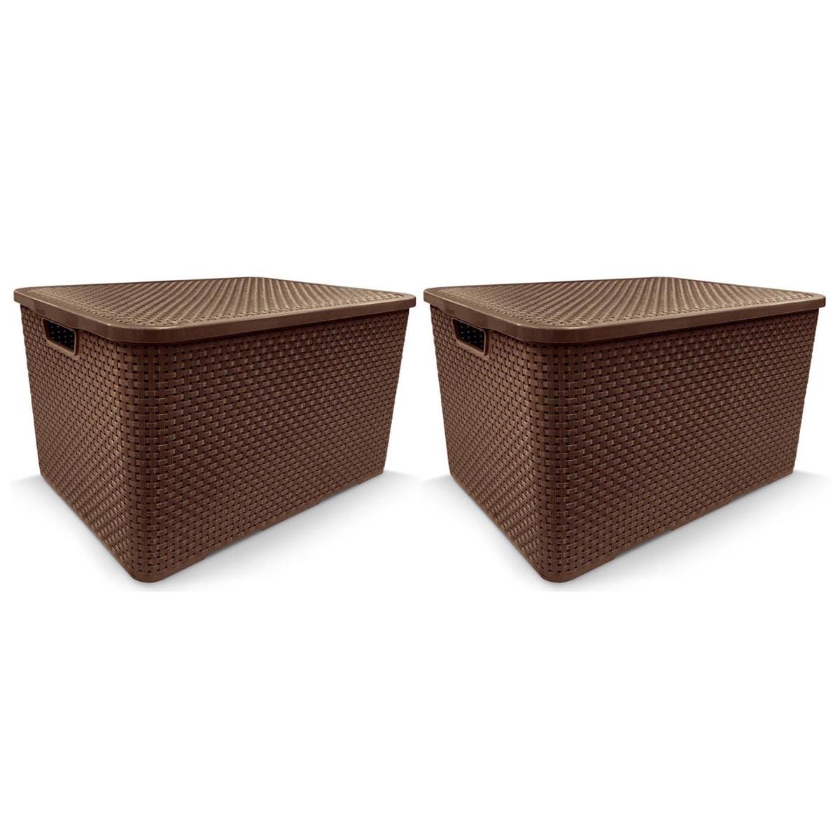 KIT 2 Caixa Organizadora Plástica Marrom Cesto Rattan 40 Litros