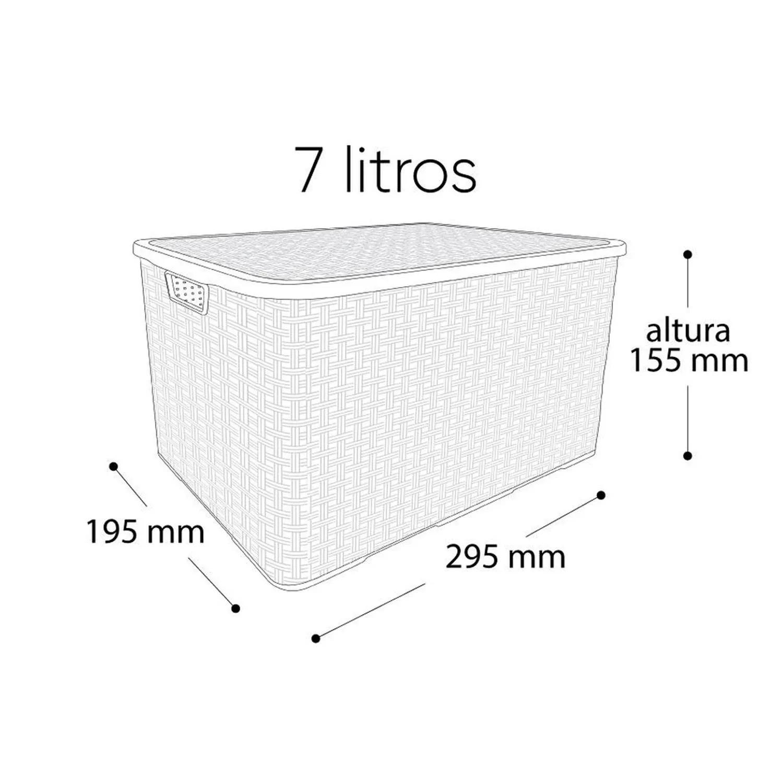 Kit 3 Caixa Organizadora Plástica Cesto Rattan 7 Litros Com Tampa