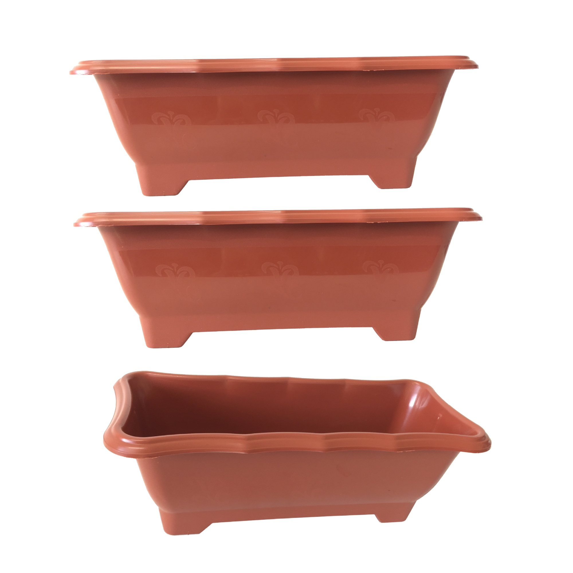 Kit 3 Vaso Jardineira Floreira  Terracota Arqplast Média 37,5x17,5x14cm - 25300