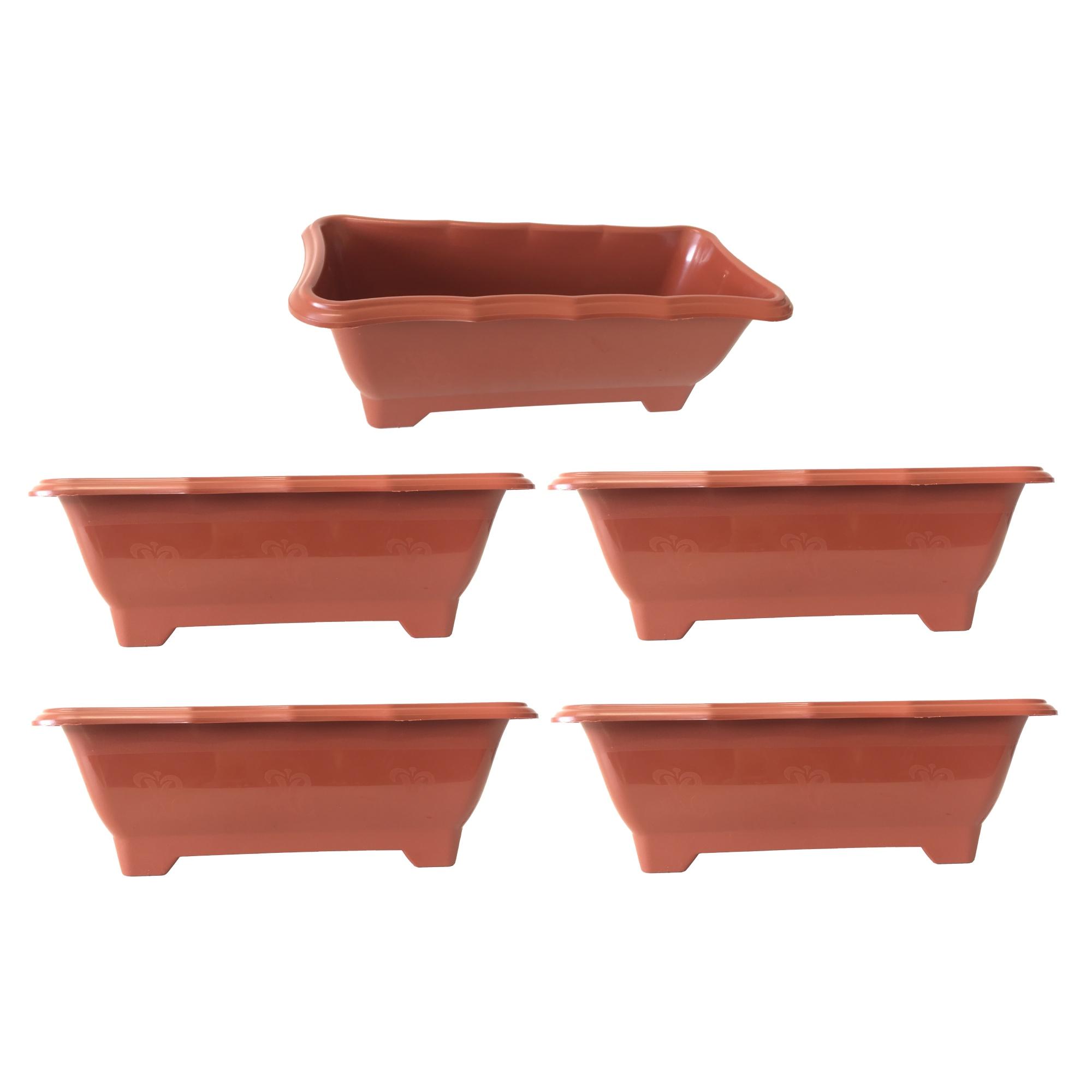 Kit 5 Vaso Jardineira Floreira  Terracota Arqplast Média 37,5x17,5x14cm - 25300