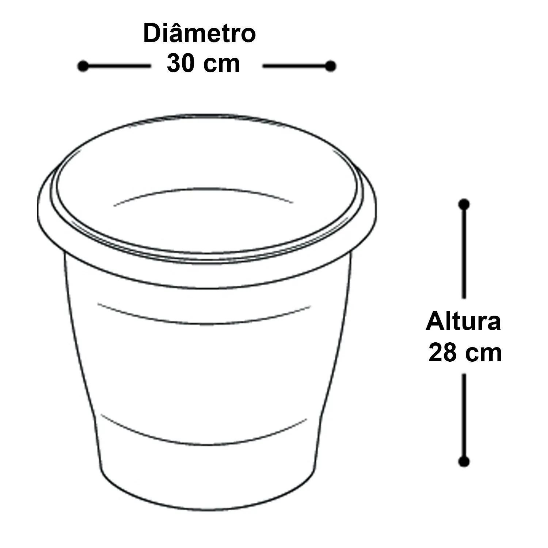 Kit 6 Vaso Redondo Plástico Médio Preto Hortas Plantas Jardim Arqplast - 25289