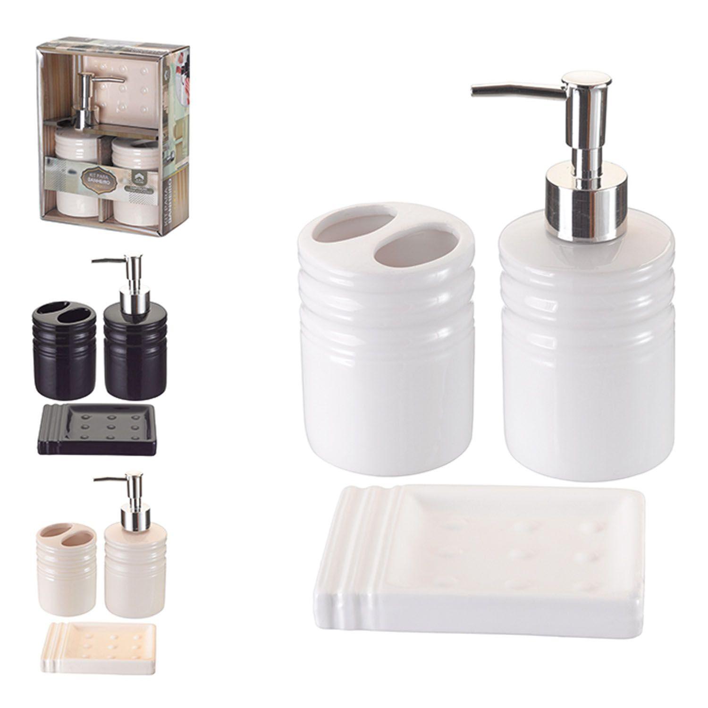 Kit Banheiro Lavabo Cerâmica 3 Peças Higiene Sabonete Escova