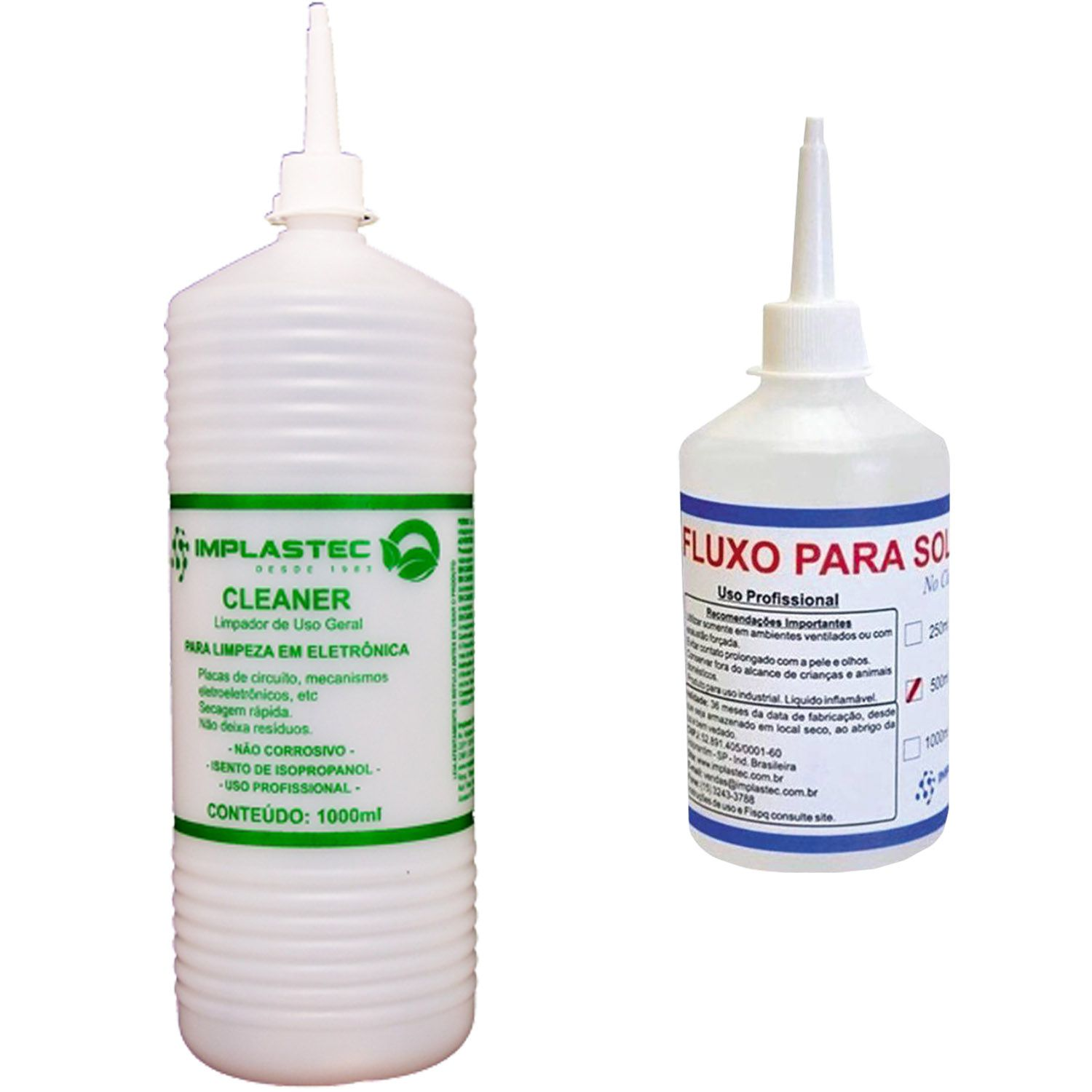 Kit Cleaner 1L Limpa Placas e Fluxo Liquido No Clean 500ml