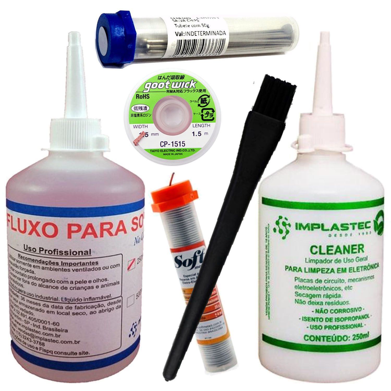 Kit Salva Chip Malha Fluxo Cleaner Solda Pincel Esd Smd