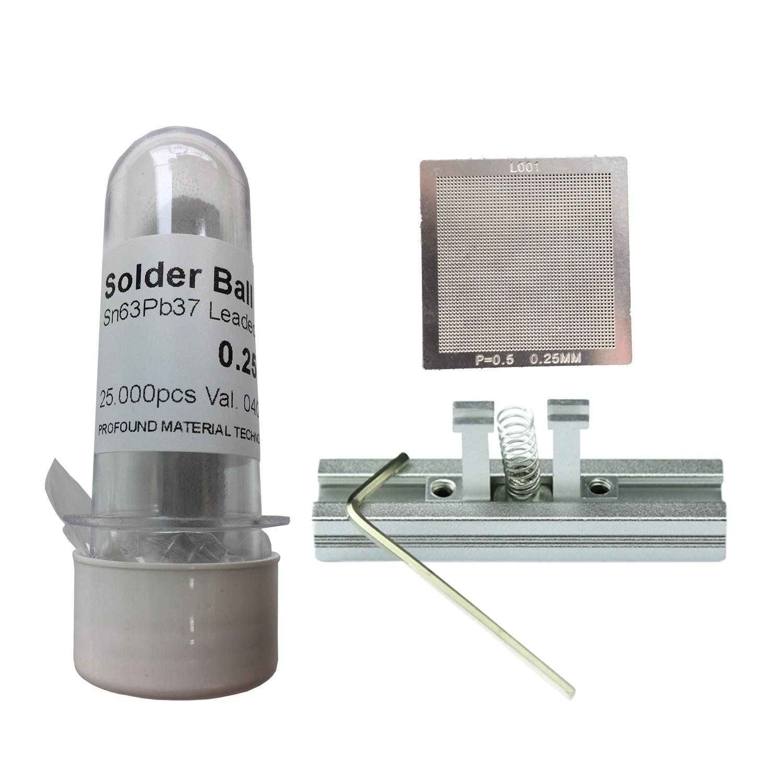 Kit Stencil Universal 0,25mm Solda Esfera 25k Bga Reballing + Suporte